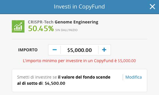 Almeno 5000 dollari (circa 4200 euro) se si vuole diversificare con i