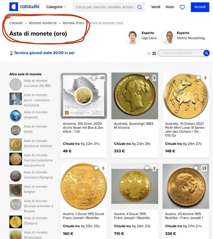 asta monete oro