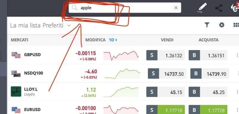 trova azioni apple broker