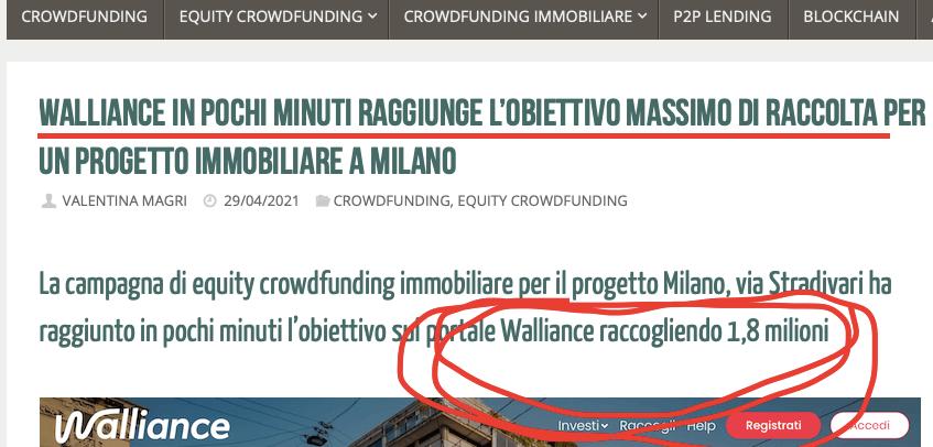 record raccolta immobiliare online crowdfunding